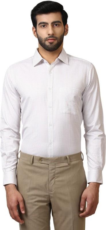 Raymond Mens Checkered Formal White Shirt
