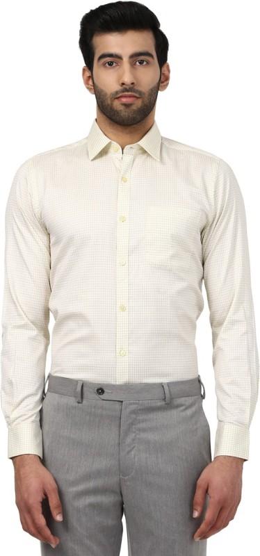 Raymond Mens Checkered Formal Beige Shirt