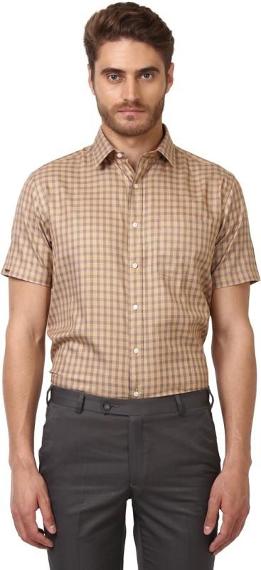 Park Avenue Mens Checkered Formal Beige Shirt