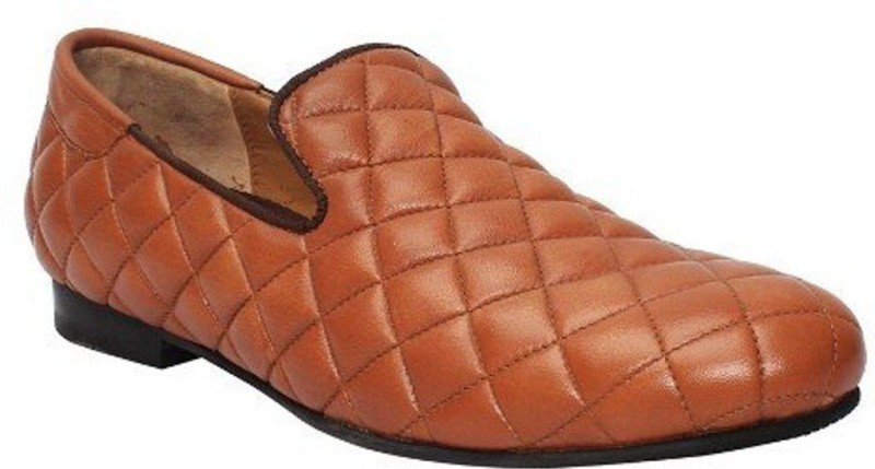 Bare Skin Bareskin Tan Color Hand Finished Genuine Leather Diamond Stitched Loafer Shoes For Men Casuals For Men(Tan)