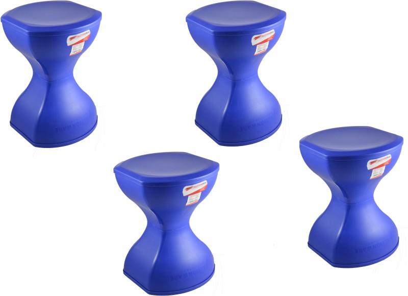 SARANGWARE Pinakin Foldable Stool Blue (Pack of 4) Living & Bedroom Stool (Blue) Living & Bedroom Stool (Blue) Stool(Blue)