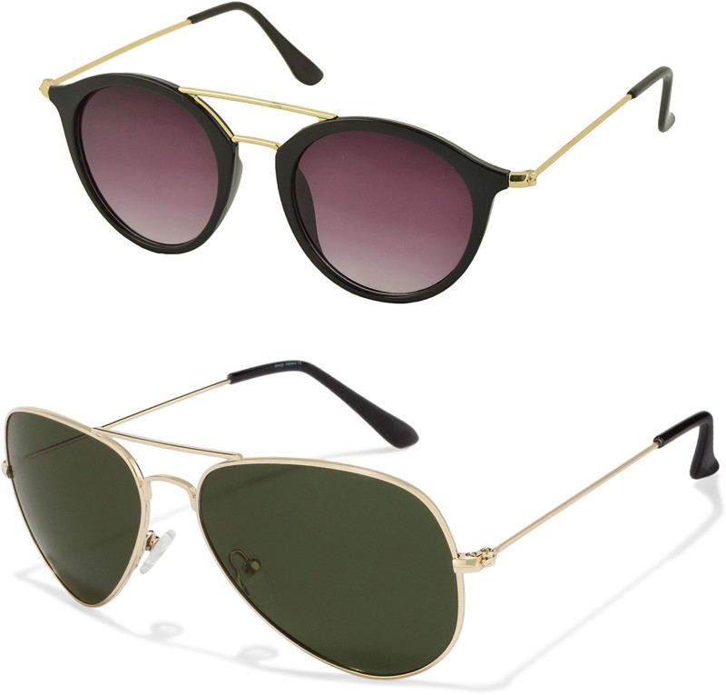Aventus Round, Aviator Sunglasses(Black, Green) image