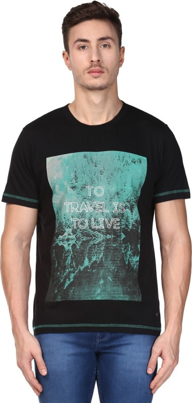 Park Avenue Printed Mens Round Neck Black T-Shirt