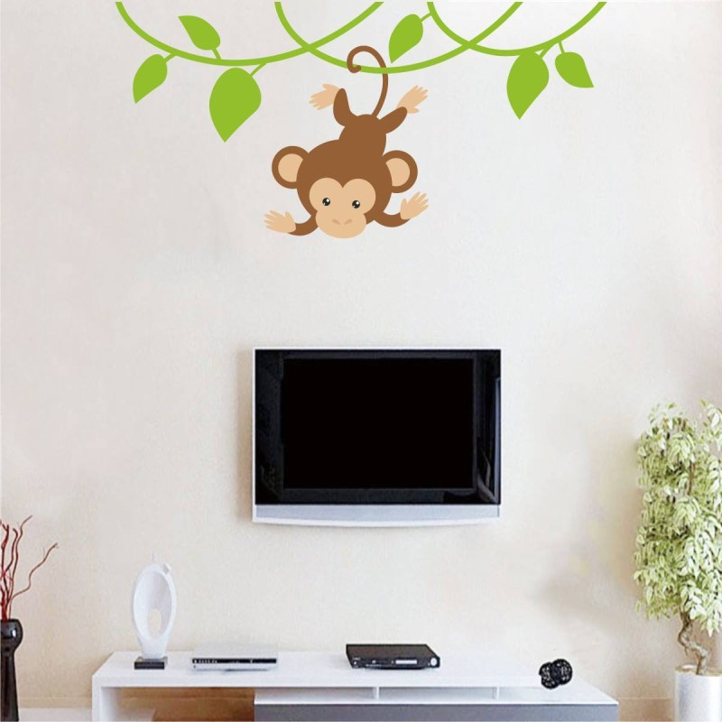 Rawpockets Decals ' Baby Monkey on Tree ' Large Size Wall Sticker ( Wall Coverage Area - Height 45 cms X Width 95 cms)(Pack of 1 )(Multicolor)
