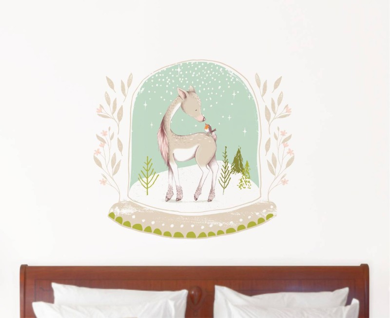 Rawpockets Decals ' Baby Deer with bird in Snow ' Large Size Wall Sticker ( Wall Coverage Area - Height 50 cms X Width 55 cms)(Pack of 1 )(Multicolor)