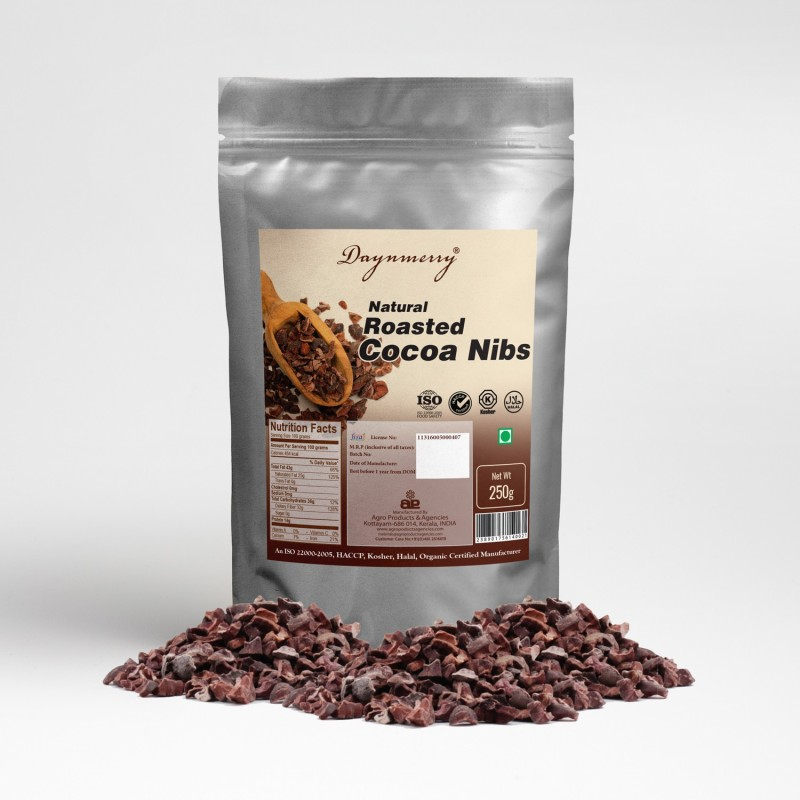 Daynmerry Natural Roasted Cocoa Nibs- 250 gm Cocoa Solid(250 g)