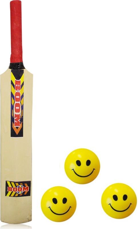 Akshat Kids Cricket Bat Wooden 54 CM. Hight Poplar Willow Cricket Bat WITH 3 SMILEY BALLS FOR KIDS Poplar Willow Cricket Bat(1, 250-1 kg)