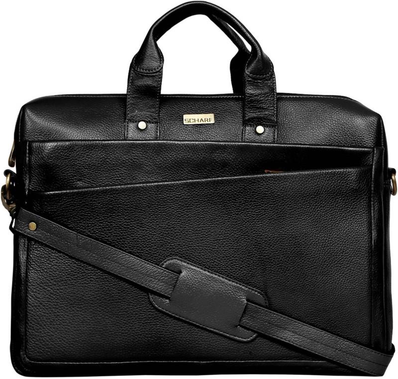SCHARF Marios Giovanni - Come Bag Soon 17 Laptop - Macbook Shoulder Messenger Bag Medium Briefcase - For Men & Women(Black)