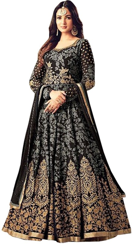 Sasimo Georgette Self Design, Embroidered Semi-stitched Salwar Suit Dupatta Material