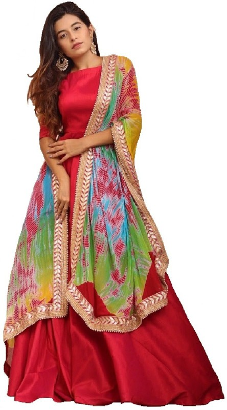 color bucket Poly Silk Printed Semi-stitched Salwar Suit Dupatta Material