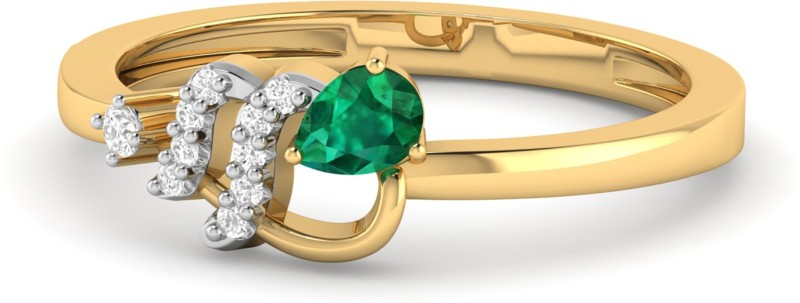 PC Jeweller The Atuona 18kt Emerald, Diamond Yellow Gold ring