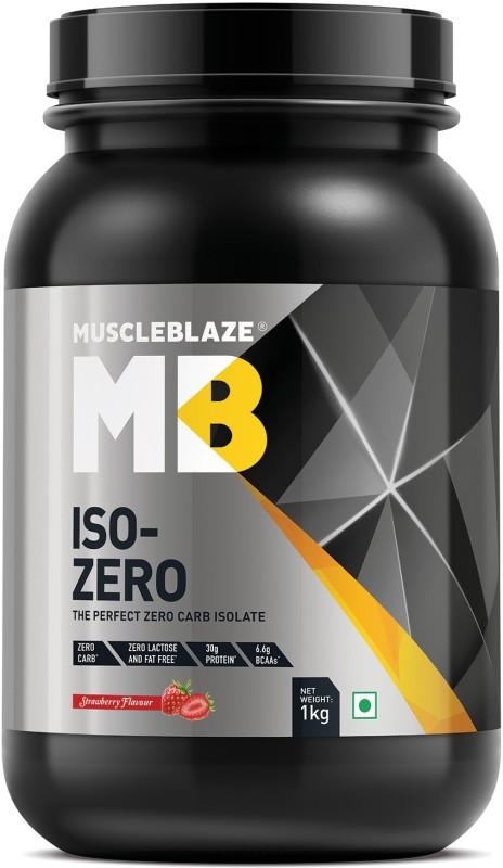 MuscleBlaze Zero Carb Iso-Zero Pure Whey Isolate Whey Protein(1 kg, Strawberry)