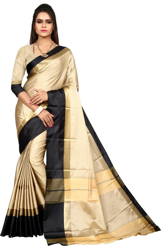 HEENA Self Design Kasavu Tussar Silk Saree(Beige, Black)