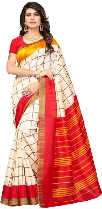 Livie Checkered Fashion Raw Silk Saree(Yellow, Red)