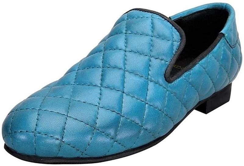 Bare Skin Bareskin Sky Blue color Hand Finished Genuine Leather Diamond Stitched Loafer Shoes For Men Casuals For Men(Blue)