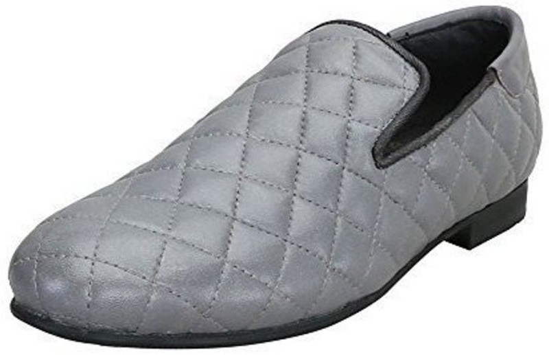Bare Skin Bareskin Grey color Hand Finished Genuine Leather Diamond Stitched Loafer Shoes For Men Casuals For Men(Grey)
