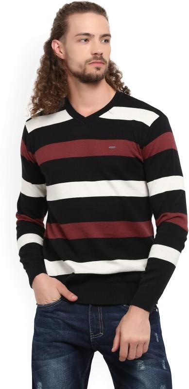 Numero Uno Striped V-neck Casual Mens Black Sweater
