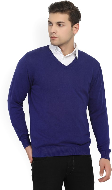 Wills Lifestyle Solid V-neck Casual Men Blue Sweater