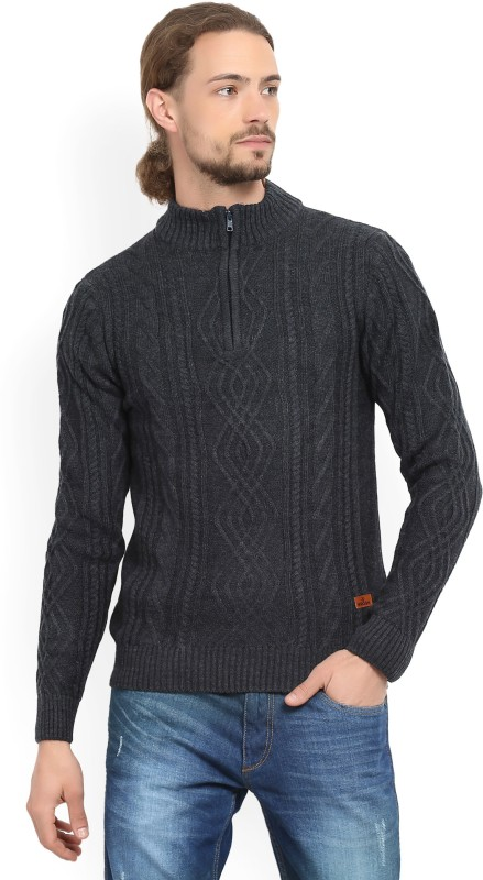 WROGN Self Design Turtle Neck Casual Mens Blue Sweater