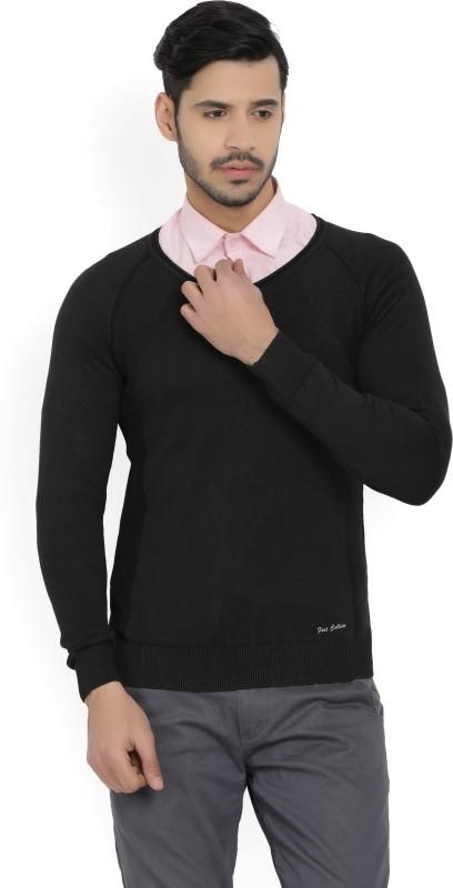 Fort Collins Solid V-neck Casual Mens Black Sweater