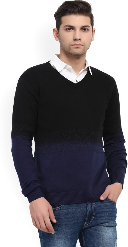 WROGN Self Design V-neck Casual Mens Black, Blue Sweater