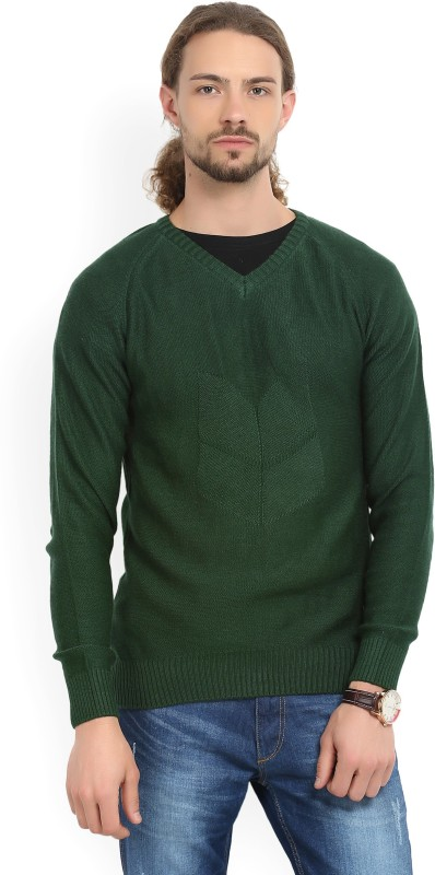 WROGN Solid V-neck Casual Mens Green Sweater