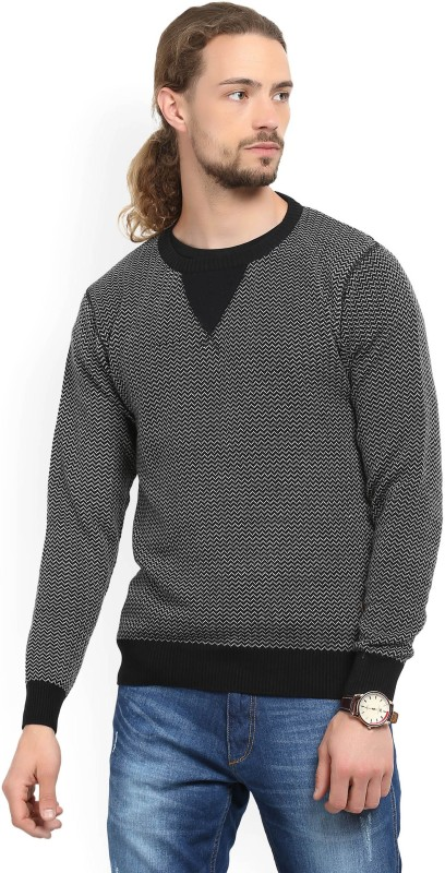 WROGN Woven Round Neck Casual Men Black Sweater