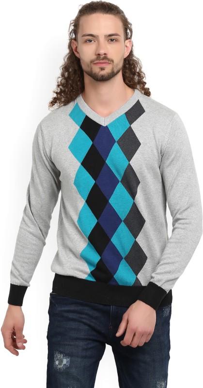 Fort Collins Argyle V-neck Casual Mens Multicolor Sweater