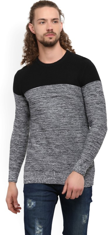 Spykar Woven Round Neck Casual Mens Black Sweater