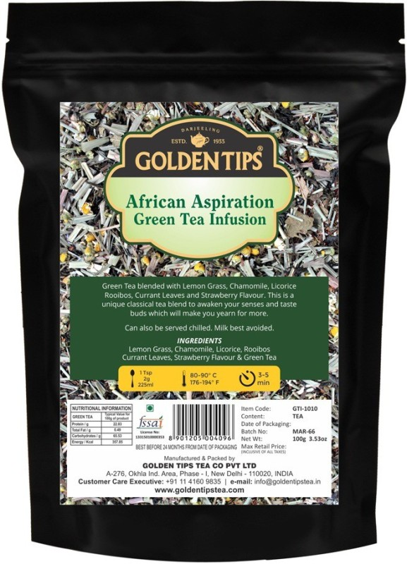 Golden Tips African Aspiration Green Tea Infusion, 100gm | Blend of Natural Ingredients: Lemon Grass, Chamomile, Licorice, Rooibos, Currant Leaves, Strawberry Flavour Chamomile, Lemon Grass, Strawberry Herbal Tea(100 g, Pouch)