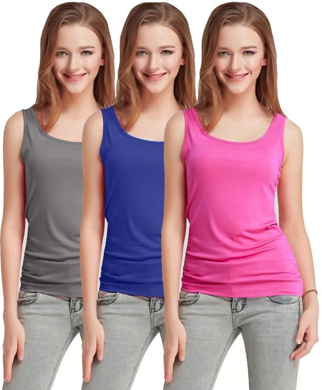 Fashion Line Casual Sleeveless Solid Women's Grey, Dark Blue, Pink Top