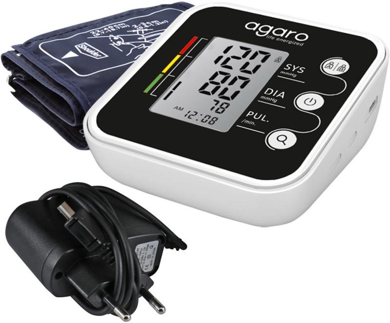 Agaro Automatic Digital Blood Pressure Monitor (Includes Adaptor, Carry Bag & Batteries) Bp Monitor(White, Black)