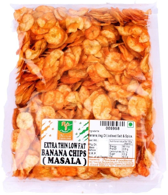 Neelam Foodland EXTRA THIN LOW FAT BANANA CHIPS MASALA Chips(400 g)