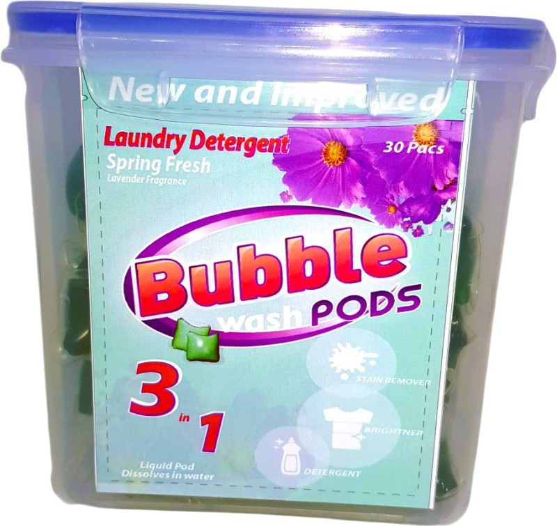 Bubble Washpods Spring Fresh Liquid Laundry Detergent HE High Efficiency 30 Loads Container Pack Lavender Detergent Pod(30 Pods)
