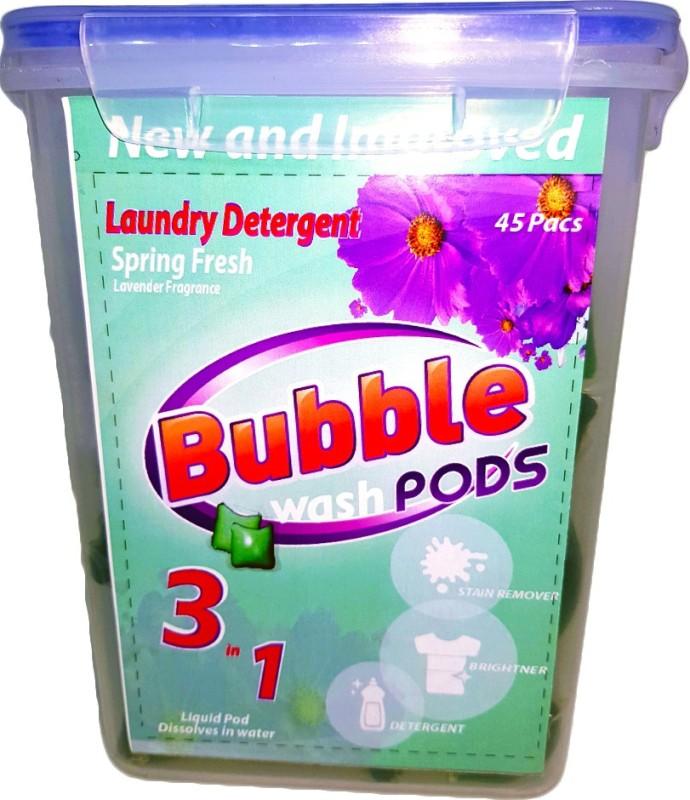 Bubble Washpods Spring Fresh Liquid Laundry Detergent HE High Efficiency 45 Loads Container Pack Lavender Detergent Pod(45 Pods)