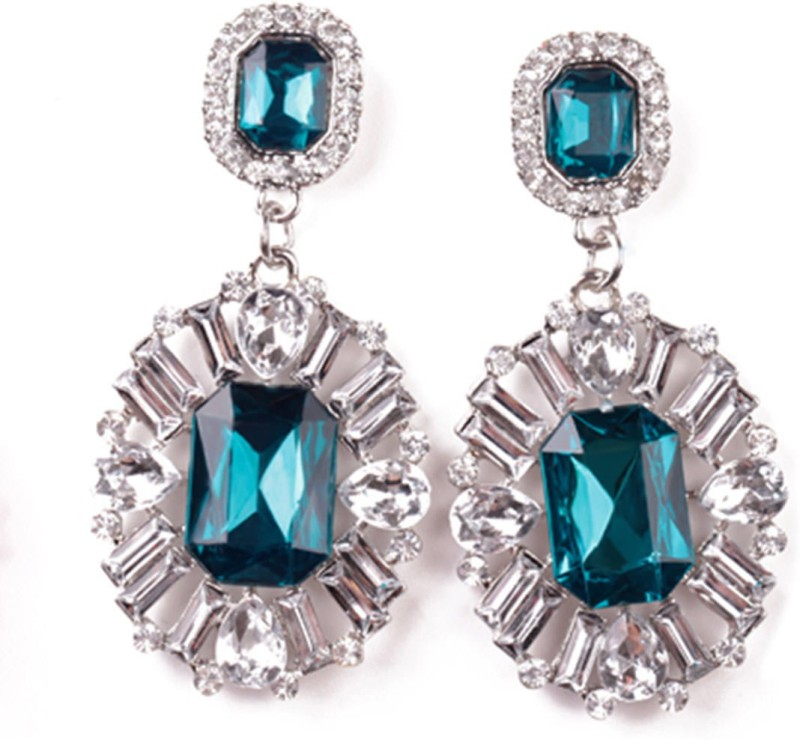 AMNOR Women Fashion Big Drop White Crystal Blue Rhinestones Floral Dangle Earring Set Acrylic, Alloy Drops & Danglers