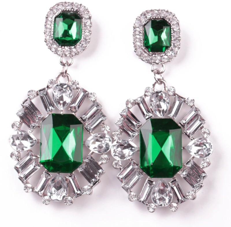 AMNOR Women Fashion Big Drop White Crystal Green Rhinestones Floral Dangle Earring Set Acrylic, Alloy Drops & Danglers