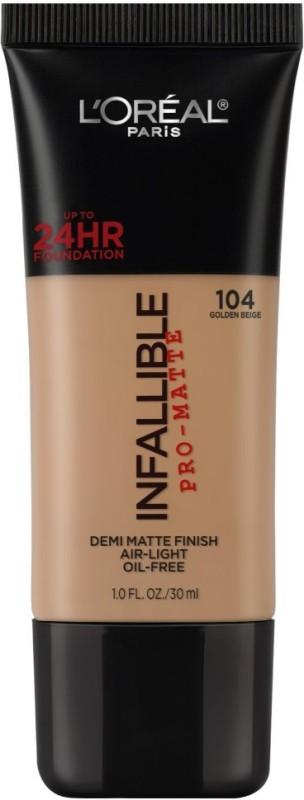 LOreal Paris Infallible Pro-matte Foundation(104 Golden Beige)