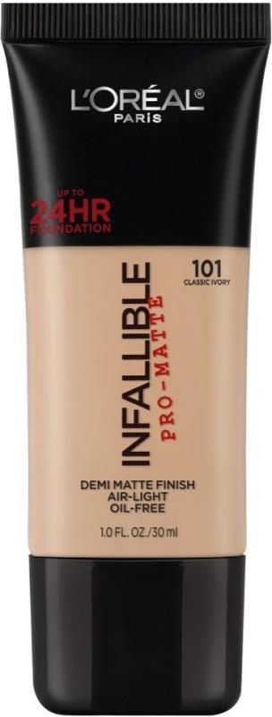 LOreal Paris Infallible Pro-matte Foundation(101 Classic Ivory, 30 ml)