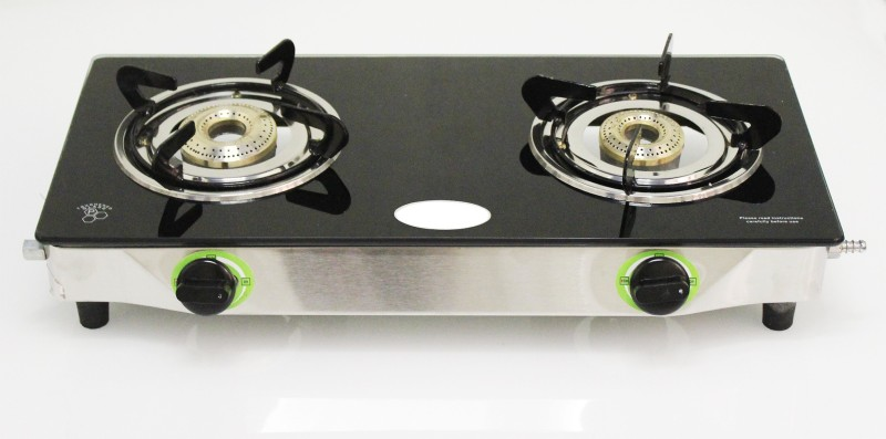 Akshat Favourite Blackline Cooktop Glass, Stainless Steel Manual Gas Stove 2 BURNER Stainless Steel Manual Gas Stove(2 Burners)