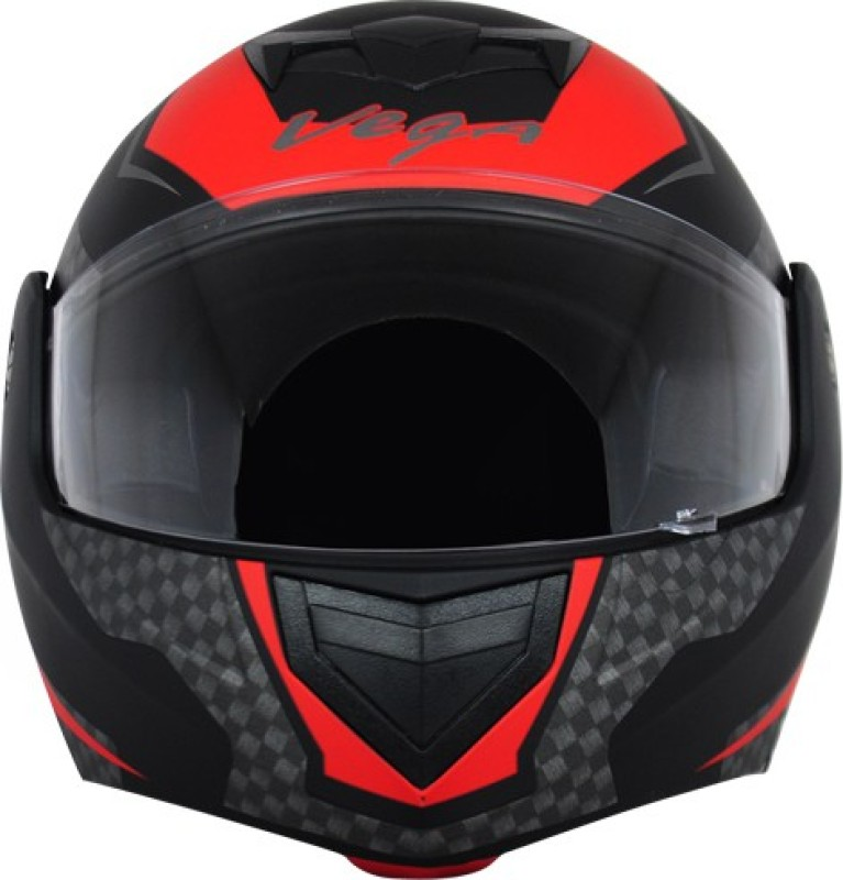 VEGA CRUX DX CHECKS DULL BLACK RED HELMET Motorbike Helmet(Multocolor)