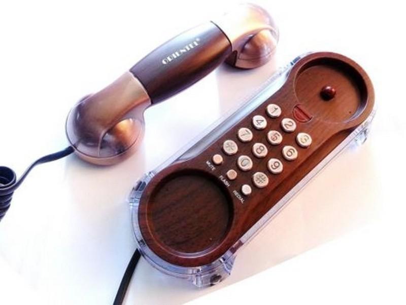 ORIENTAL Antique Maharaja Phone KX-T777 Corded Landline Phone(Wooden Copper)