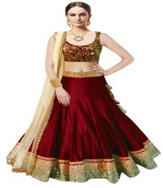 Florence Embroidered, Embellished Semi Stitched Lehenga, Choli and Dupatta Set(Maroon)