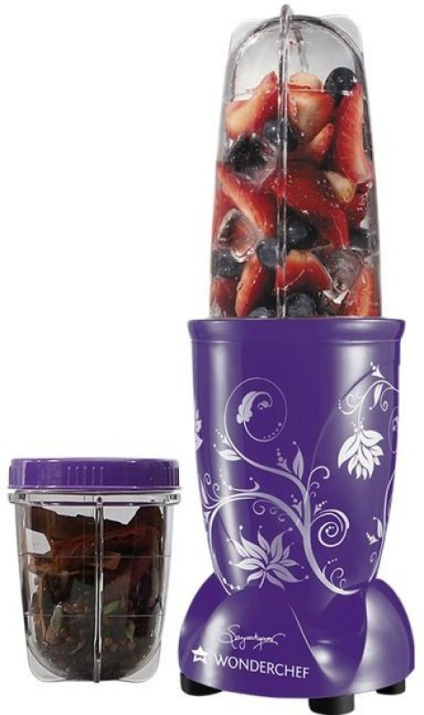 Wonderchef Nutri Blend Purple with free recipe book 400 Juicer Mixer Grinder(Purple, 2 Jars)