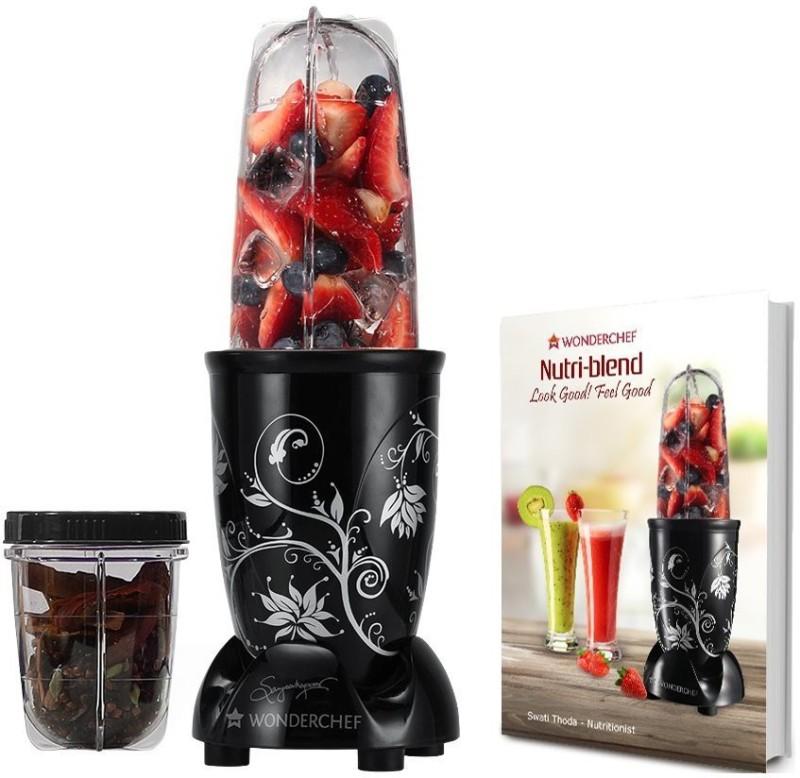 Wonderchef Nutri Blend Black with free recipe book 400 Juicer Mixer Grinder(Black, 2 Jars)