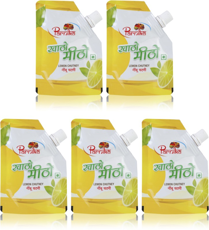 Parnika [Pack of 5] Lemon Chutney - Khatto Meetho Nimbu(500 g, Pack of 5)