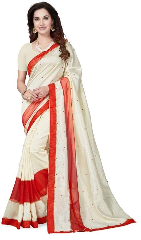 Ishin Embellished Bollywood Poly Silk Saree(Beige)