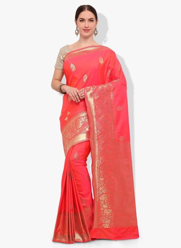 Stylee Lifestyle Woven Banarasi Banarasi Silk Saree(Pink)