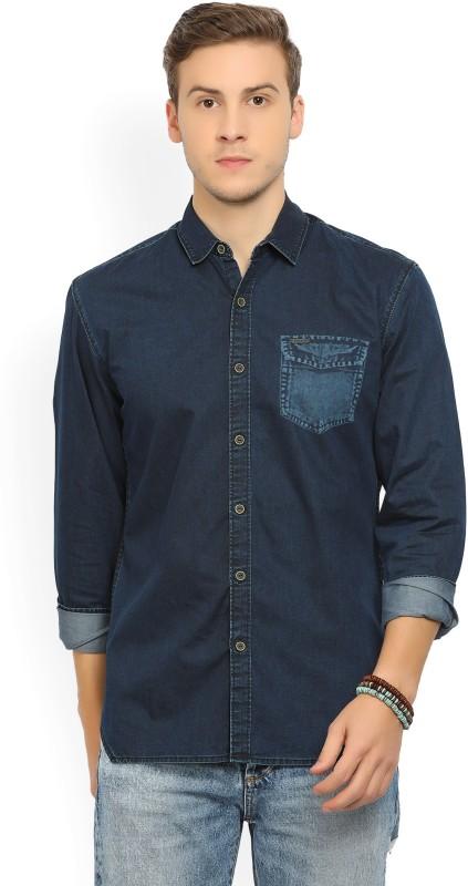 Wrangler Mens Solid Casual Dark Blue Shirt