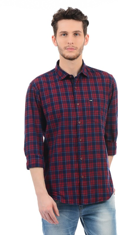 Monte Carlo Men Checkered Casual Red Shirt